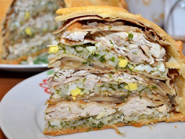 Рецепты курника из блинов с курицей, грибами, картошкой и сыром